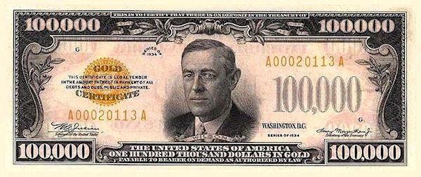 Presidents on dollar bills: One Hundred Thousand Dollar Bill.   President on $100,000 one hundred thousand dollar bill: Woodrow Wilson.