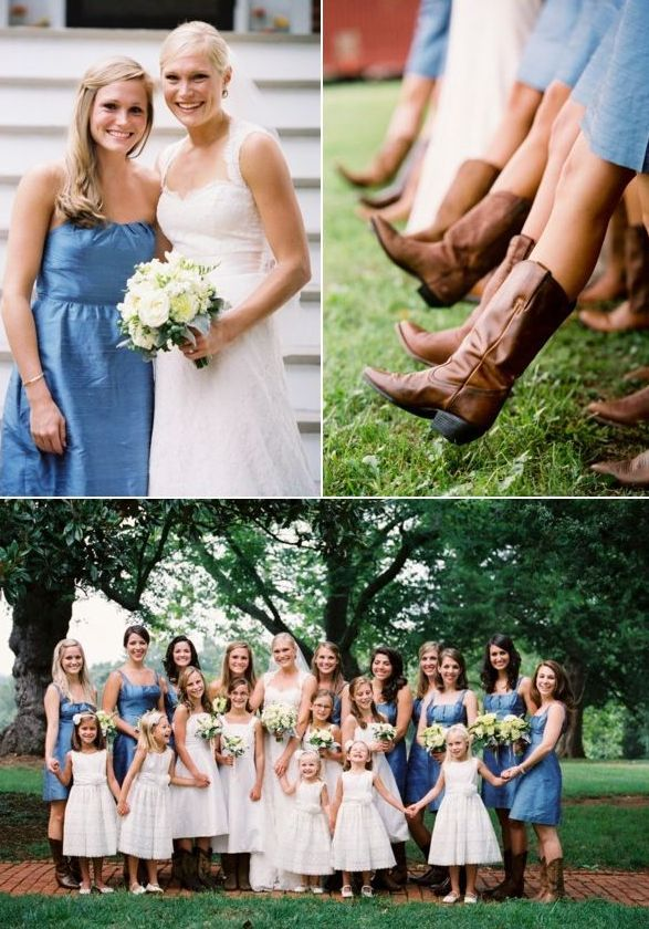 A perfect country wedding color palette of Riviera blue, brown and off-white.
