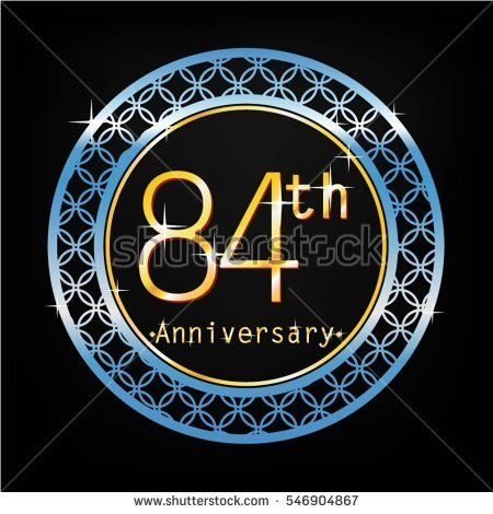 black background and blue circle 84th anniversary for business and various event