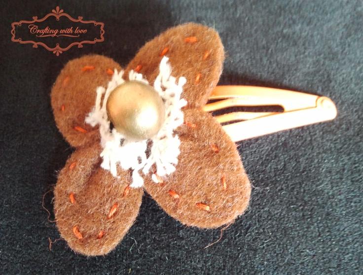 Handmade felt hair clip.