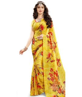 Radiant Yellow And Multi-Color Satin Saree.