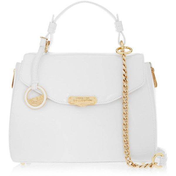 Versace Collection Glossed-leather shoulder bag found on Polyvore featuring bags, handbags, shoulder bags, сумки, white, leather shoulder bag, genuine leather purse, chain shoulder bag, white purse and leather purse