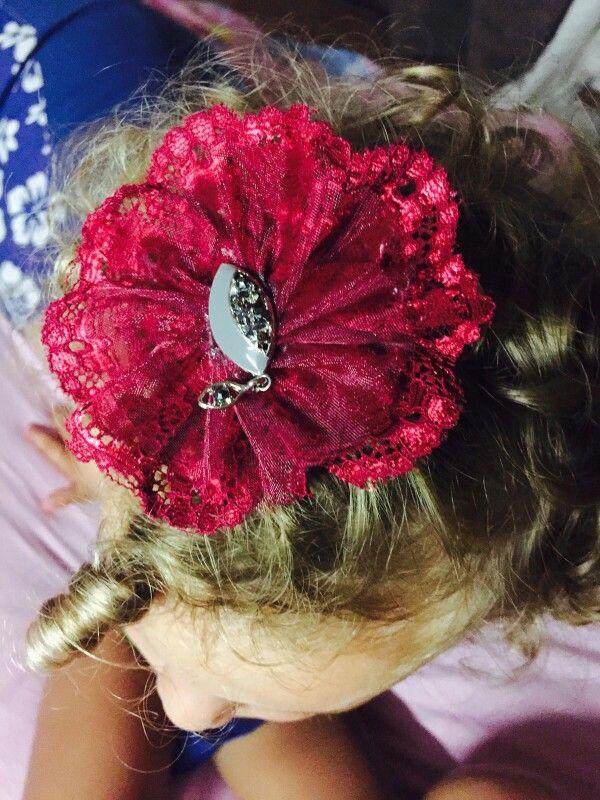 Lace, bow, shabby, hair  clips