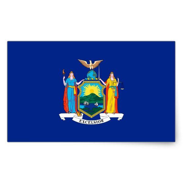 New York State Flag Design Rectangular Sticker Zazzle Com New York Poster Coat Of Arms Flag