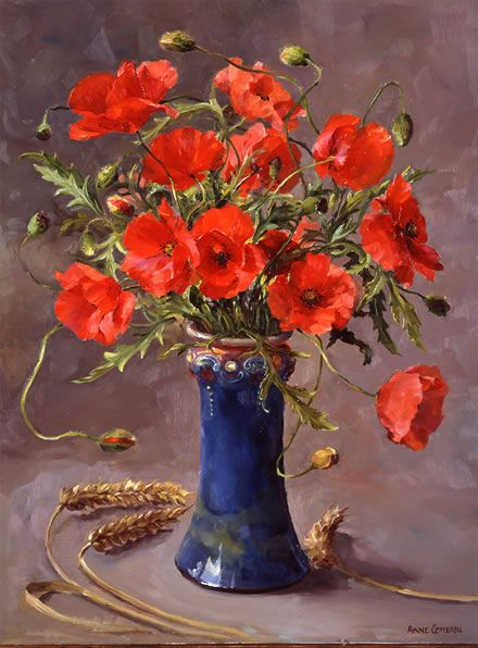 Poppies - Limited Edition Print | Mill House Fine Art – Publishers of Anne Cotterill Flower Art