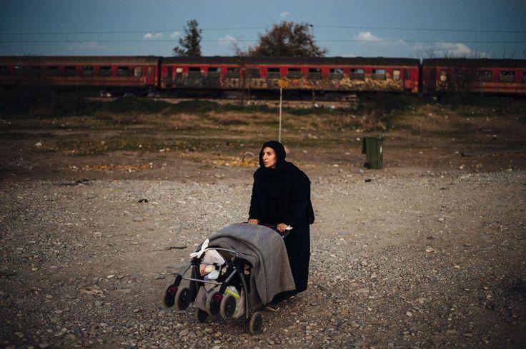 17.11 Une migrante avec une poussette se prépare à monter à bord d'un train en direction de la Syrie.Photo: AFP/Dimitar Dilkoff
