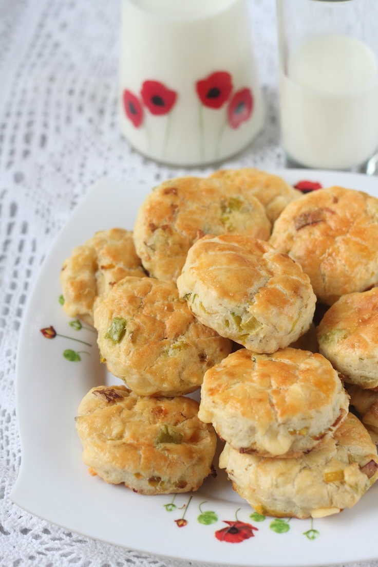 Delights of East: Leek and Cheddar Scones (original recipe in French-I ...
