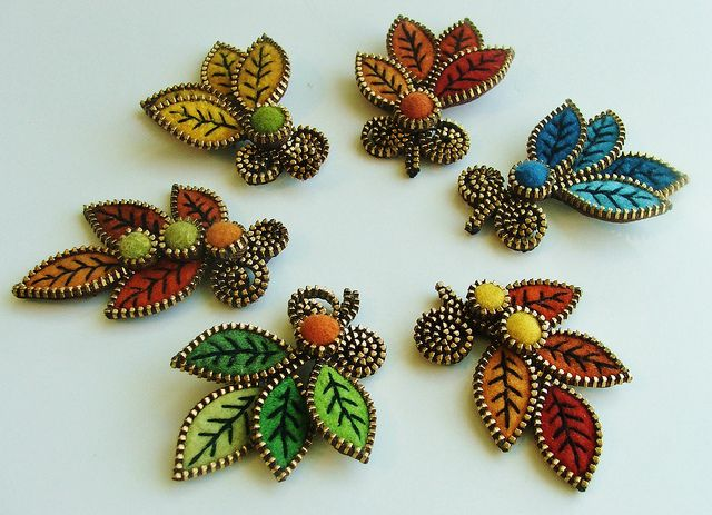 New leaf brooches... by woolly  fabulous, via Flickr