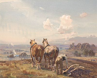 Hans HEYSEN | Ploughing the field