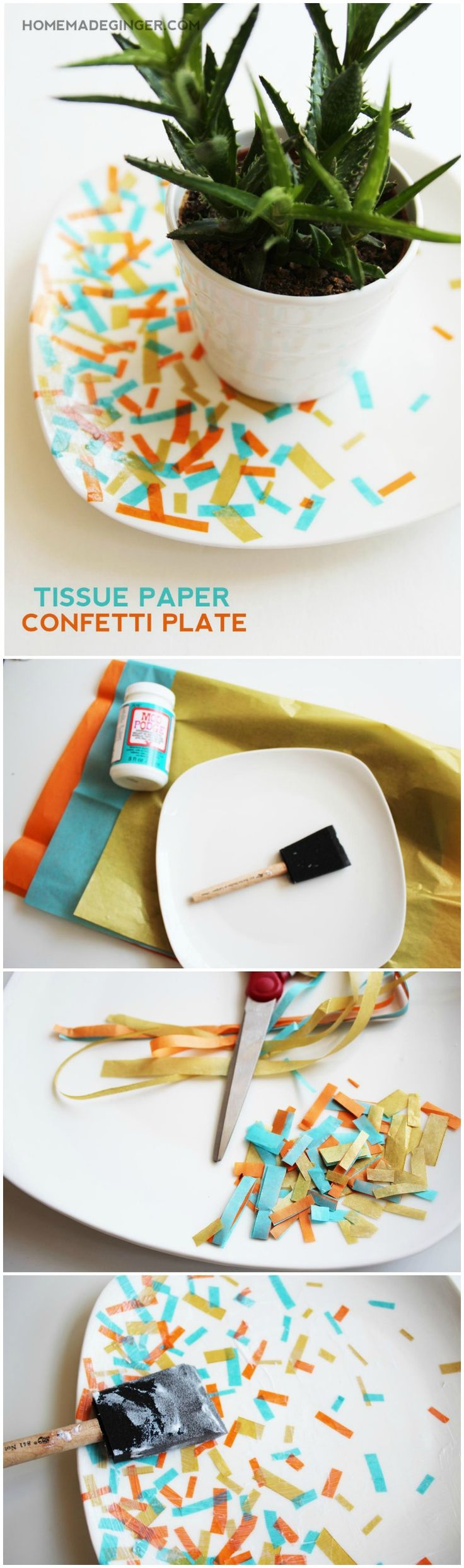 Use Various Colors Of Tissue Paper And Dishwasher Safe Mod Podge To  Decorate A Plate In