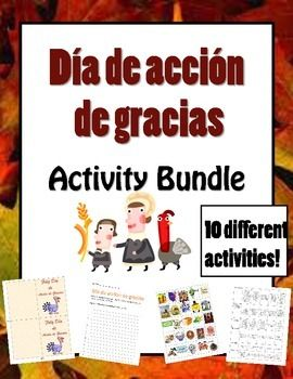 Spanish Thanksgiving activities! Skit, rubric, magic squares, bingo, Dia de accion de gracias cards and more!!!