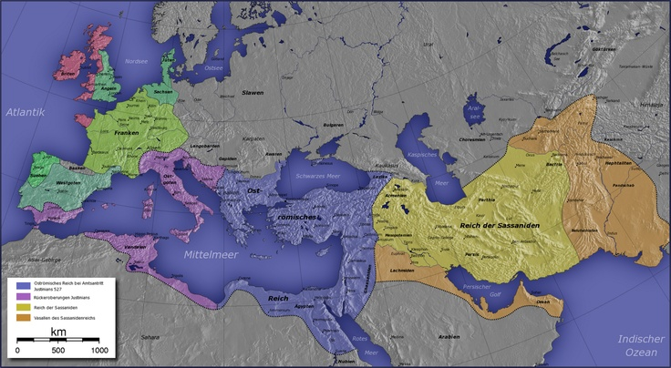 Thee Byzantine Empire at its greatest extent under Justinian I (circa 551 A.D.)