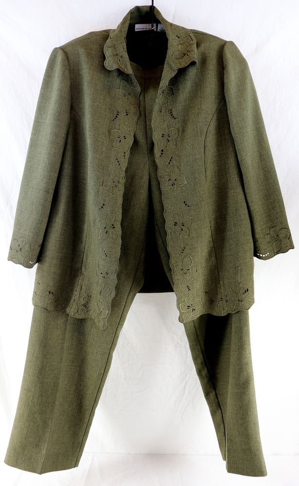 Women's Alfred Dunner 2 Pc Business Suit Green Jacket Pants Floral Set Size 12 #AlfredDunner #PantSuit #Casual