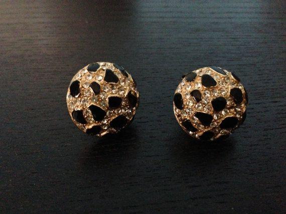 Black Gold Earrings/ Vintage Rhinestone Earrings/ Gold Earrings on Etsy, $30.00