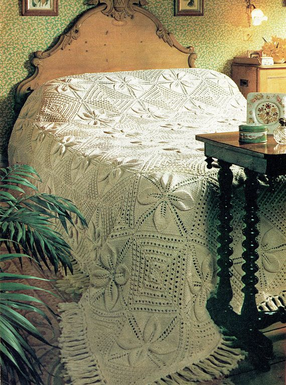 PDF Vintage  Knitting Pattern  Bed Spread 1970s Pretty