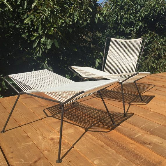 Iron and Rope Midcentury Modern Outdoor Patio Chair  Ottoman