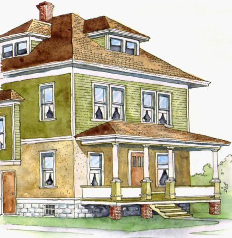 American foursquare homes google search farmhouse for American craftsman home plans