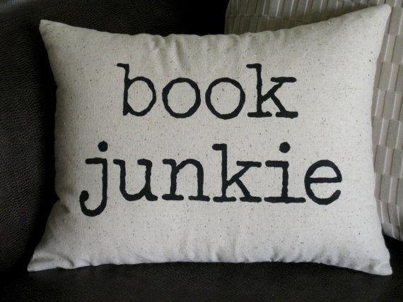 Book Junkie throw pillow