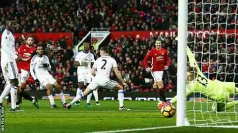 Man Utd 3 Sunderland 1 in Dec 2016 at Old Trafford. Daley Blind scores for United #Prem