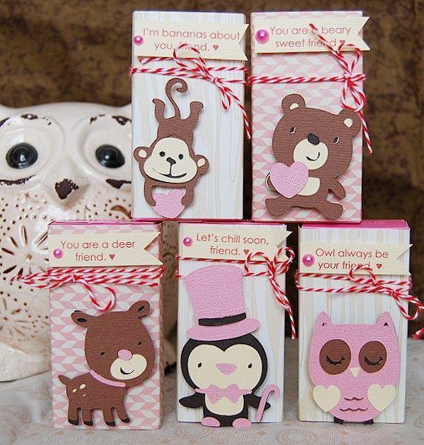 conversation hearts, box, wrap, valentine, valentine's day, valentine's, class party, school, kids, kids crafts, owl, deer, monkey, penguin, bear, cricut, create a critter, create a critter2, crafts, diy, holiday.