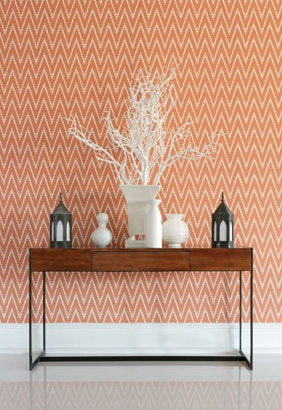 Kasari Ikat in Terra Cotta Wallcovering by Schumacher What a lively chevron pattern!