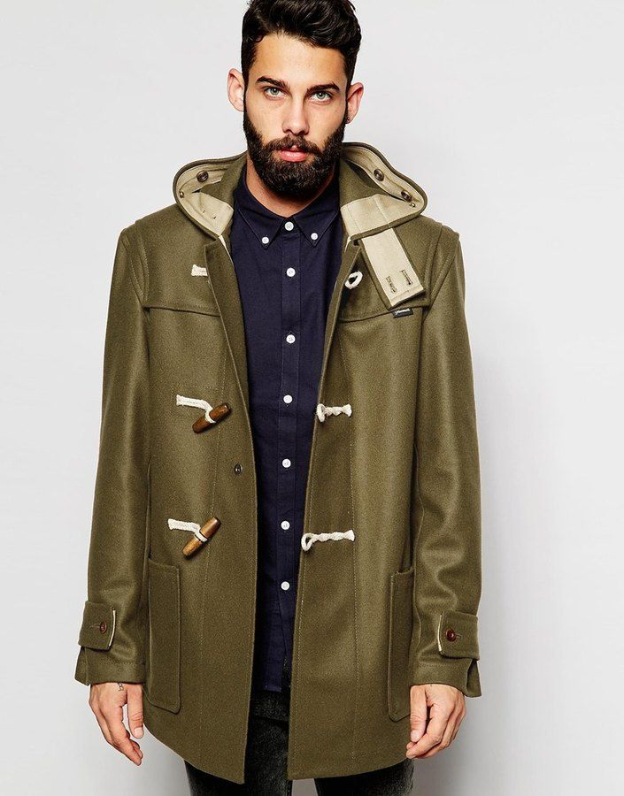 $242, Gloverall Duffle Coat In Melton Wool. Sold by Asos. Click for more info: https://lookastic.com/men/shop_items/380791/redirect