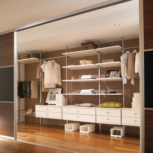 Aura modular furniture system / sliding wardrobe interior at Pages DIY |  Wardrobe | Pinterest | Wardrobes, Interiors and