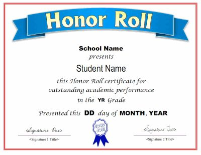 Printable honor roll award certificate in PDF and DOC formats. Free downloads at http://mycertificatetemplates.com/download/honor-roll-certificate/