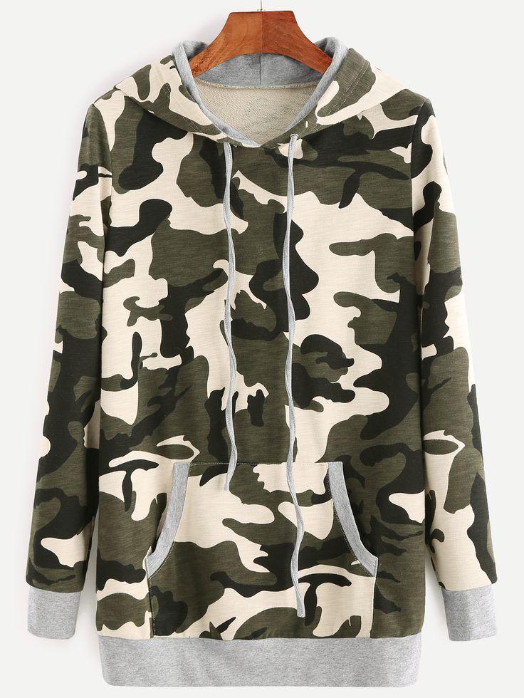 Sudadera con capucha y estampado de camuflaje-(Sheinside)