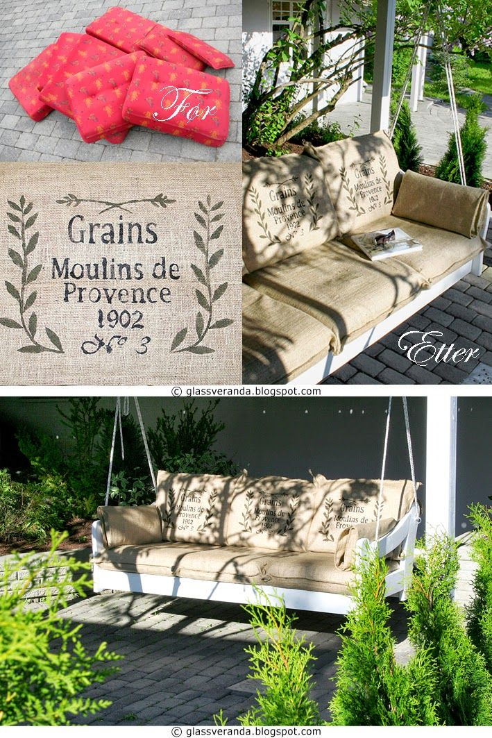 Lage hengebenk til hagen, av en gammel furusofa? Oppskriften finner du her!