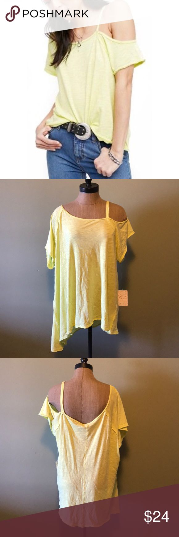 Free People Coraline Tee Neon Yellow size large New with Tags free people coraline tee. This is in a bright neon yellow/green color. Size large. Details and description in photo. Free People Tops Tees - Short Sleeve