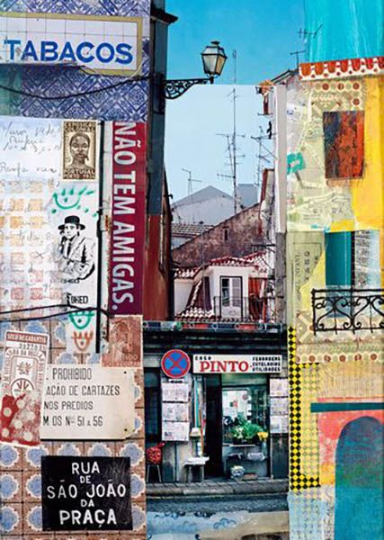 detailed paper collage of street scene in Portugal, lots of lettering, windows and rooftops