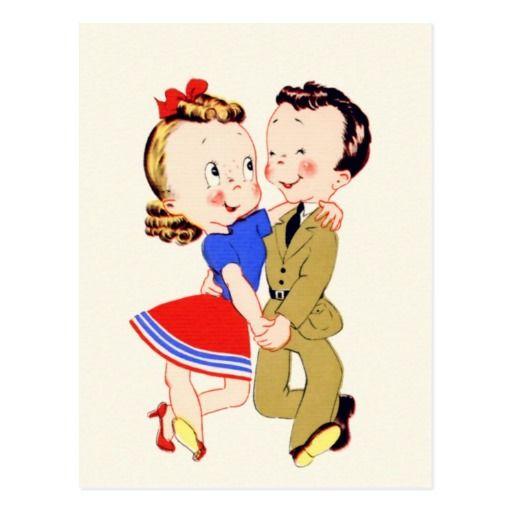 Carte postale vintage de couples de danse