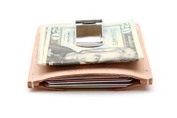 Mens Wallet Money Clip Card Holder Natural Leather by TAGSMITH, $50.00