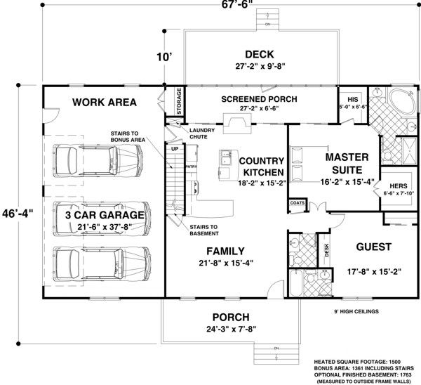 Ranch Style House Plan 92395 With 2 Bed 3 Bath 3 Car