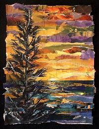 """Eileen Downes  ...the artist who """"paints"""" with bits of torn paper instead of paint for a palette."""