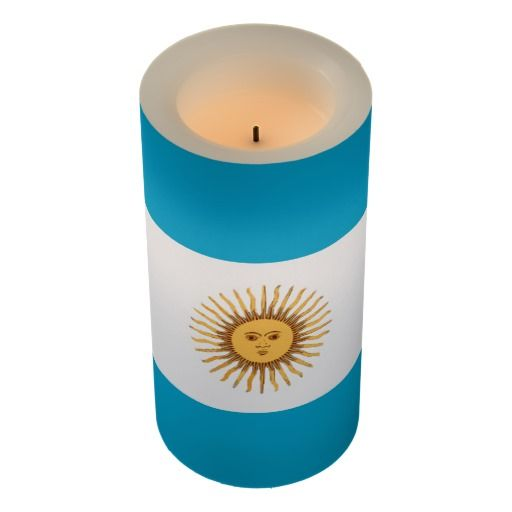 Argentina flag flameless candle. Love the sun and blue sky color.