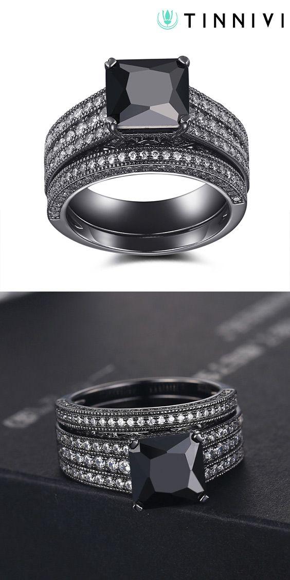 aaeb17ddbd9 Shop ❤️Black 925 Sterling Silver Princess Cut Black Engagement  Ring❤️online️