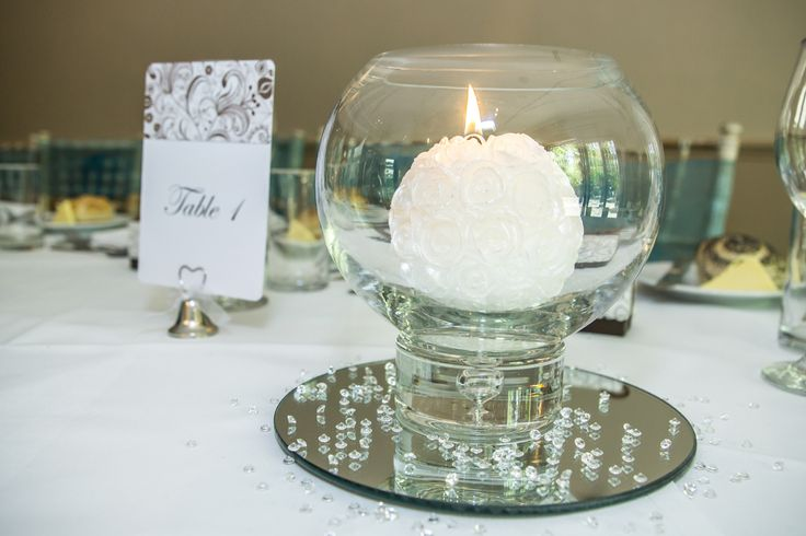 Lovely white candle inside a bowl.