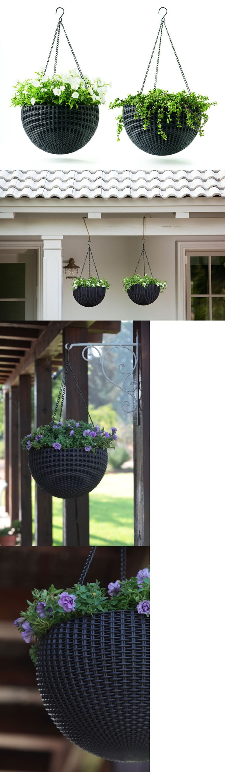 Baskets Pots and Window Boxes 20518: Keter Dia 13.8 In. Round Plastic Resin Garden Plant Hanging Planters Decor Pots -> BUY IT NOW ONLY: $48.46 on eBay!