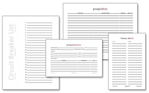 New home improvement printables free home your way for Home project planner