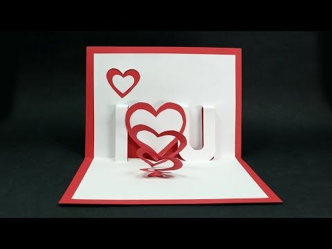 Handmade Valentine's Day Card - DIY 'I Love You' Pop Up Heart Love Card Tutorial - YouTube