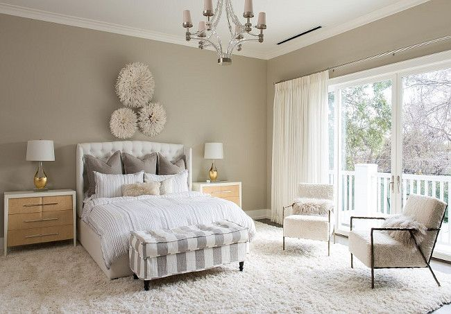 "Hamptons Style Home with Sophisticated Interiors - ""Greige Master Bedroom"" (Paint Color: Elephant's Breath 229 Farrow and Ball)"