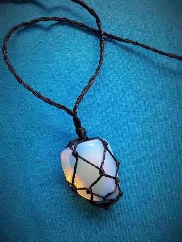 colar hippie pedra da lua rainbow moon stone