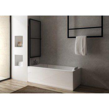 Pare-baignoire 2 volets pivotant coulissant 140 x 123cm verre transparent Lift | Leroy Merlin