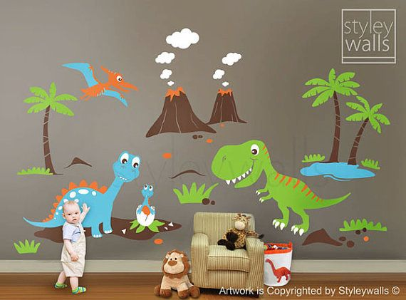 Dinosaurs Wall Decals Dino Land Wall Decal Dinosaurs Wall Sticker Huge Set Children Nursery Kids Playroom Wall Decal Sticker Baby Room