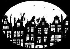 Sinterklaas en Maatje Piet aan het werk ~ Silhouette Sjabloon ~ Amerigo wil niet altijd zulke moeilijke sprongen wagen ;-D