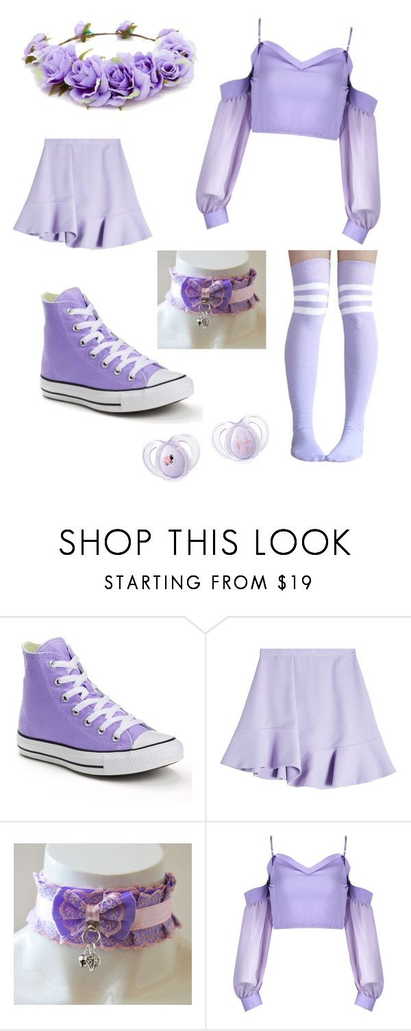 """Purple Princess"" by purpledymond0425 on Polyvore featuring Converse, Carven, Forever 21, princess, little and little fashion ddlg clothes"
