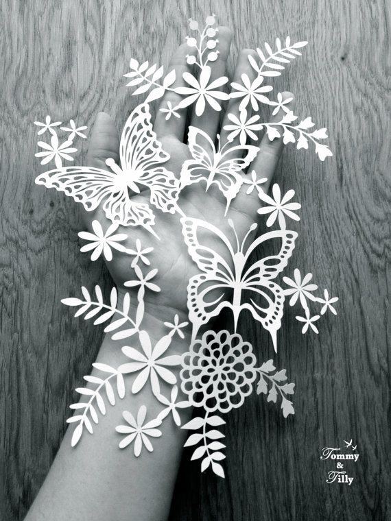 Flowers & Butterflies Design - Papercutting Template to print and cut yourself (COMMERCIAL USE)