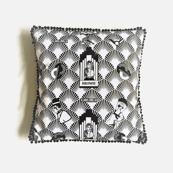 Black and White Hollywood Art Deco Style Throw Pillow